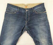 HUGO BOSS Mens Navy Blue Denim Orange 37 Gloomy Regular Fit Jeans W34 L30 34S