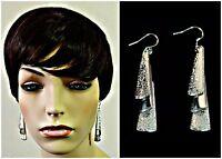 """""""TRIPLE DROP"""" HEAVY Silver Plated Earrings w/ 316L Surgical Steel Ear Wires"""