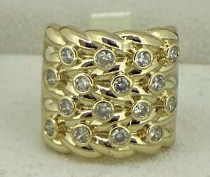 18ct Gold gf Keeper Ring Diamond Mens Boys Big Chunky Large Adjustable