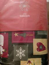 "Vinyl Flannel Back Christmas Table Cloth 60"" X 84"" Oblong Snowman"