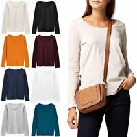New Ladies Womens NEXT Scoop Neck Long Sleeve Cotton T Shirt Top Plus Size 6-24