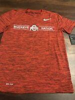 New Nike Mens Ohio State Buckeyes Short sleeve Shirt Size Small Red