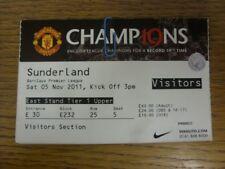 05/11/2011 Ticket: Manchester United v Sunderland  (creasing/light folding). Fau