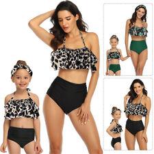 Mother Daughter Matching Swim Costume Ruffled Swimwear Bikini Swimsuit Sets