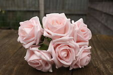 6 x LIGHT BABY PINK  COLOURFAST FOAM ROSES 6cm WEDDING FLOWERS