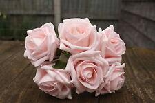 6 X Luz Bebé Rosa druable Espuma Rosas Flores De Boda 6 Cm