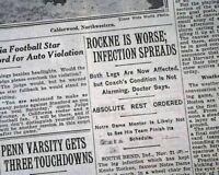 KNUTE ROCKNE Notre Dame Fighting Irish FOOTBALL Coach LEGS Worsen 1929 Newspaper