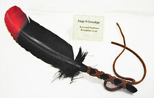 Smudging Feather Smudge Sage Feather Fan Wafting Multi Color Red and Black