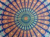 Hippie Bohemian Queen Size Tapestry Indian Mandala Sheet 100% Cotton Bedding