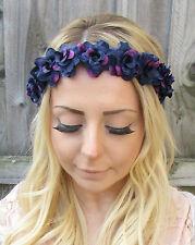 Dark Purple Rose Flower Garland Headband Hair Crown Festival Pastel Goth 1866