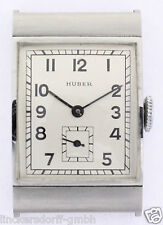 ART DECO STAHL HERRENUHR VOM MÜNCHENER JUWELIER HUBER - NEW OLD STOCK - ca.1935