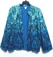Chicos Womens Size 12 Blue Waterfall Print Open Front Reversible Jacket Ruched