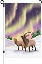 "Aurora Borealis Northern Lights Elk Garden Flag Small 18"" x 12"""