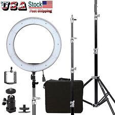 "US Dimmable Diva LED Ring Light ES240 18"" 5500K With Diffuser Light Stand Selife"