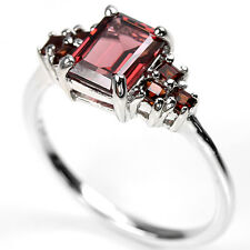 Sterling Silver 925 Genuine Natural Emerald Cut Garnet Ring Size S1/2 (US 9.5)
