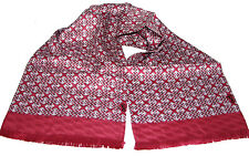"Men's 100% Silk Scarf / Dusty Rose / Geometric / 64"" X 10"" / with fringe"