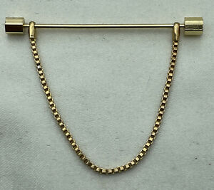 Vintage Gold plated Mens Wedding Collar Chain Bar Pin with Hexagon Ends