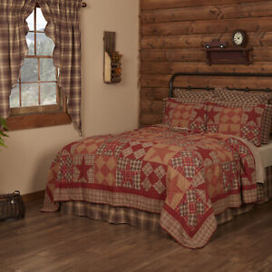 VHC Brands Rustic Twin Quilt Tan Patchwork Dawson Star Cotton Bedroom Decor
