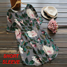 Women Loose Rolled up Long Sleeve Floral Printed Tunic Tops T Shirt Mini Dress Blue 2xl UK 14