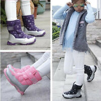 Kids Children Girls Waterproof Fleece Snow Boots Winter Warm Shoes Boots