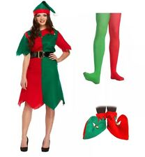 Ladies Elf Christmas Costume 3 Pcs + Elf Boots And Tight Complete Xmas Outfit