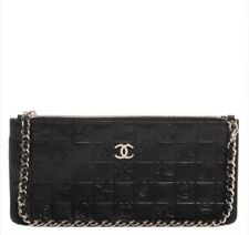 Chanel Black Quilted Icons Bag Purse Wristlet Clutch Pochette