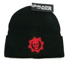 Gears of War Beanie Hat Black Gear Skull Red Logo Officially Licensed Bioworld