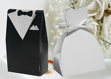 100 x MIXED BRIDE & GROOM WEDDING DRESS & TUXEDO SUIT FAVOUR CANDY GIFT BOX