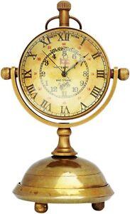 Brass Nautical Marine Desk & Shelf Clock Vintage Pocket Watch Victoria London,
