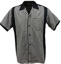 Rockabilly Fashions Retro Vintage Bowling 1950 1960 Men's Shirt Black White