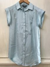 A/X Armani Exchange Light Blue Button Front Cap Sleeve Blouse Top Size S NWT