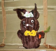 "Vtg 1970's Chenille Bunny Folk Art 9"" Easter Google Eyes Dark Brown"