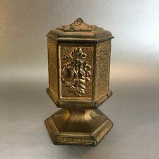 Antique Cast Iron Match Safe Box Holder Striker Sides Victorian Vintage