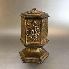 Antique Cast Brass Match Safe Box Holder Striker Sides Victorian Vintage