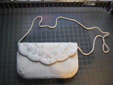 Vintage White Beaded Handbag Flower Design Evening Bag Clutch Purse & Cord Strap