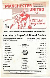Manchester United v Newcastle United (FA Youth Cup) 1974/1975