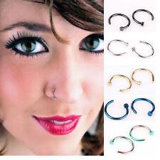 5*Pcs-Jewelry Stainless Steel Nose Open Hoop Ring Earring Body Piercing-NICE