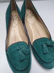 E.U.C Isaac Mizrahi Live! Women's Sz 6M Green Suede Tassel Loafers