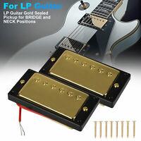 2PCS Gold Sealed Humbucker LP Guitar Neck Bridge Pickup Set For Gibson Les Paul