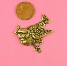 Antique Brass Large Chickadee On A Branch - 1 Pc