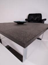 60s 70s Draenert Chrom Couch Tisch Schieferplatte m. Einschlüssen