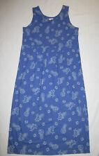 Vtg Empire Tank Dress Sundress Long Dress Size Large L Cotton Blue Beach
