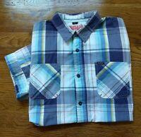 BUFFALO DAVID BITTON Short Sleeve Cotton Plaid Pastel Button Up Shirt Men M EUC