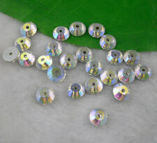 Middle hole round clear Ab glass crystal rhinestone Faceted sew silver bottom