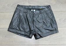 Black Leather EPISODE MADDOX High Waist Front Pleats Hot Pants Shorts Size W33""