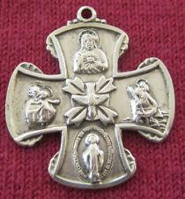 Vintage Catholic Religious Medal - CHAPEL STERLING - Scapular Cross - DOVE