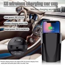Cargador de Coche Qi Rápido Carga vaso USB Adaptador para iPhone X 8 Samsung S9