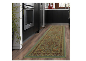 Ottohome Traditional All-Over Pattern Design Seafoam 2ftx5ft Runner Rug