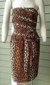 VINTAGE 1970's Lillie RUBIN Strapless Leopard Silky CHIFFON Dress 10 MINT Cond