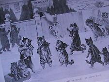 Louis Wain Artist Cats Cat Kitten Rare Old Antique Edwardian Book Plate 1904